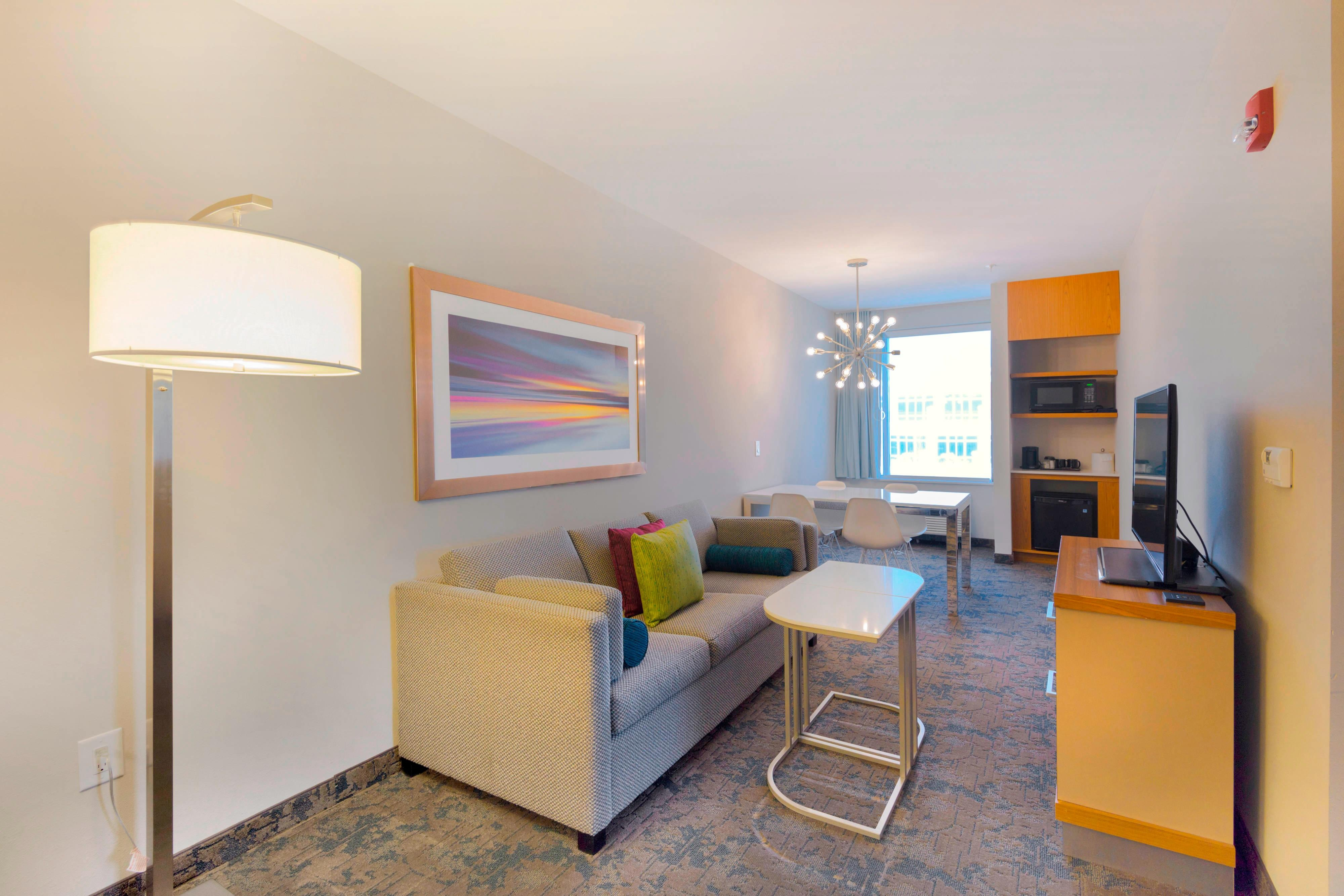 One-Bedroom Suite Sofa and TV