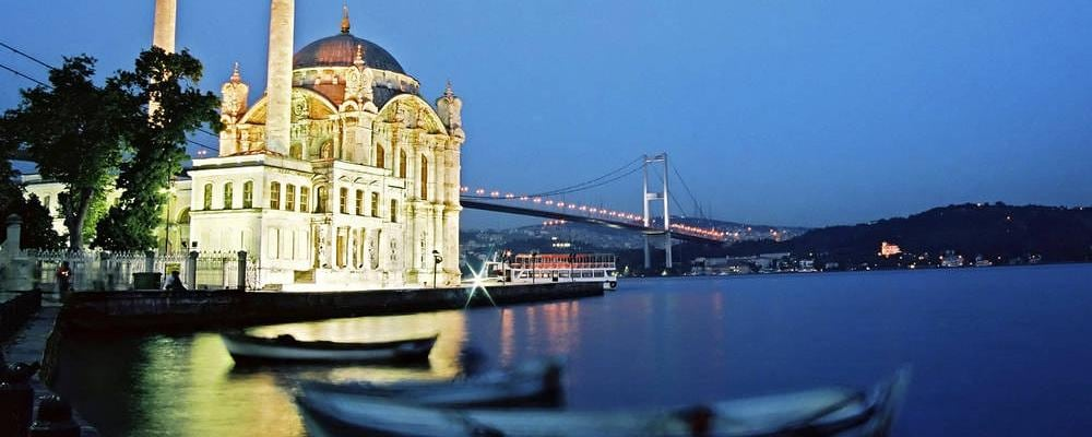 An Istanbul, Turkey view by night