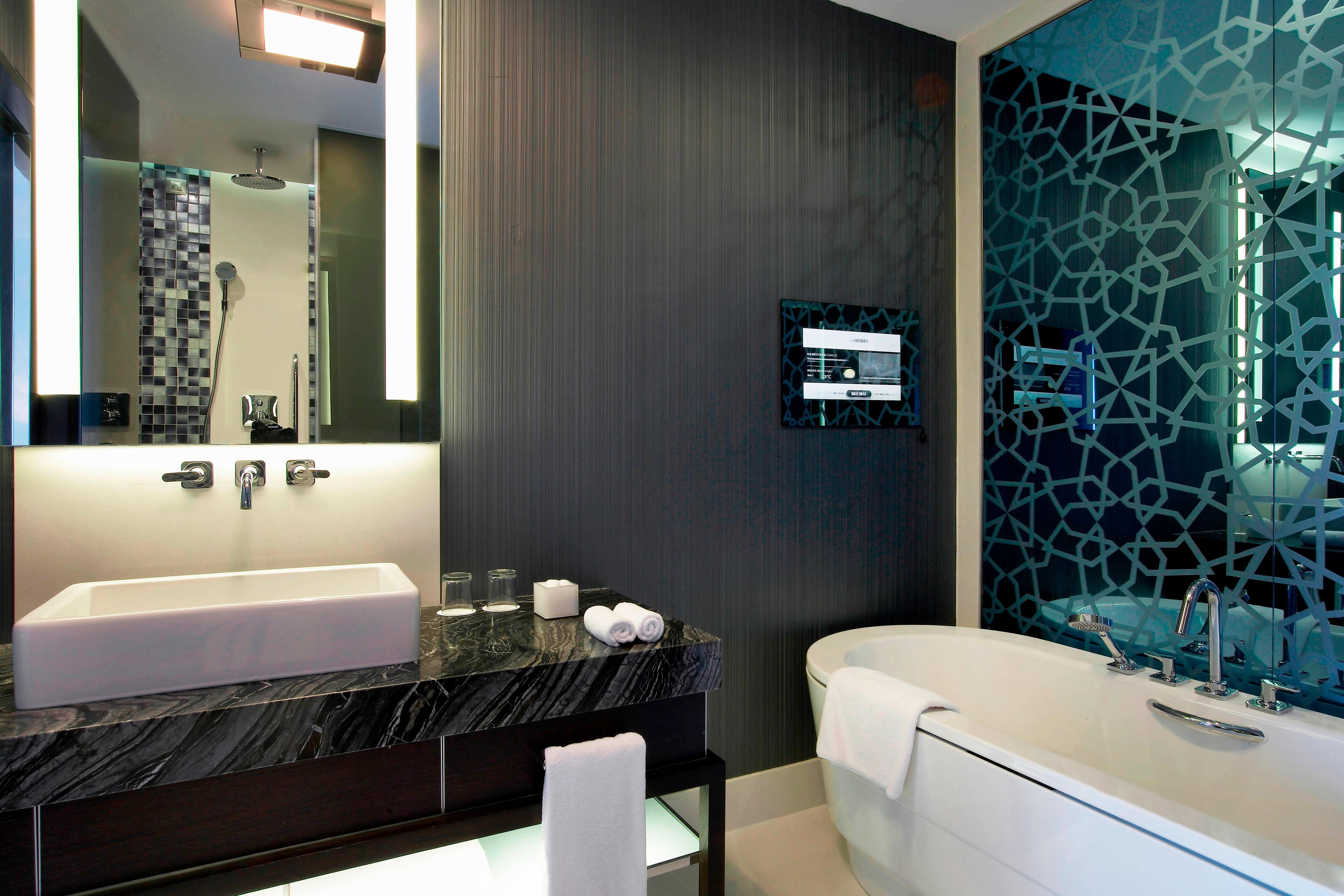 Bathroom with separate bathtub and TV