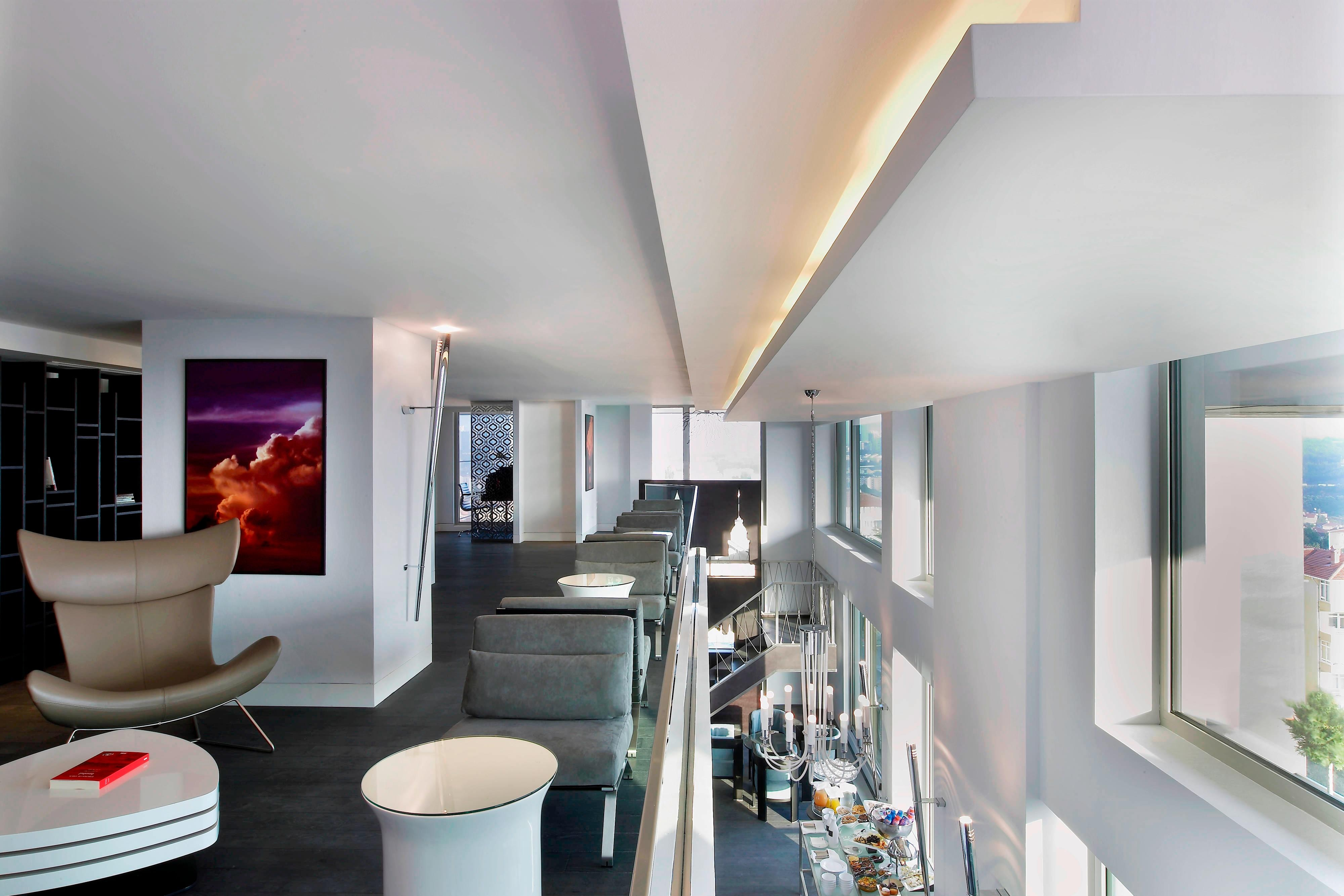 Club lounge mezzanine floor and seating area