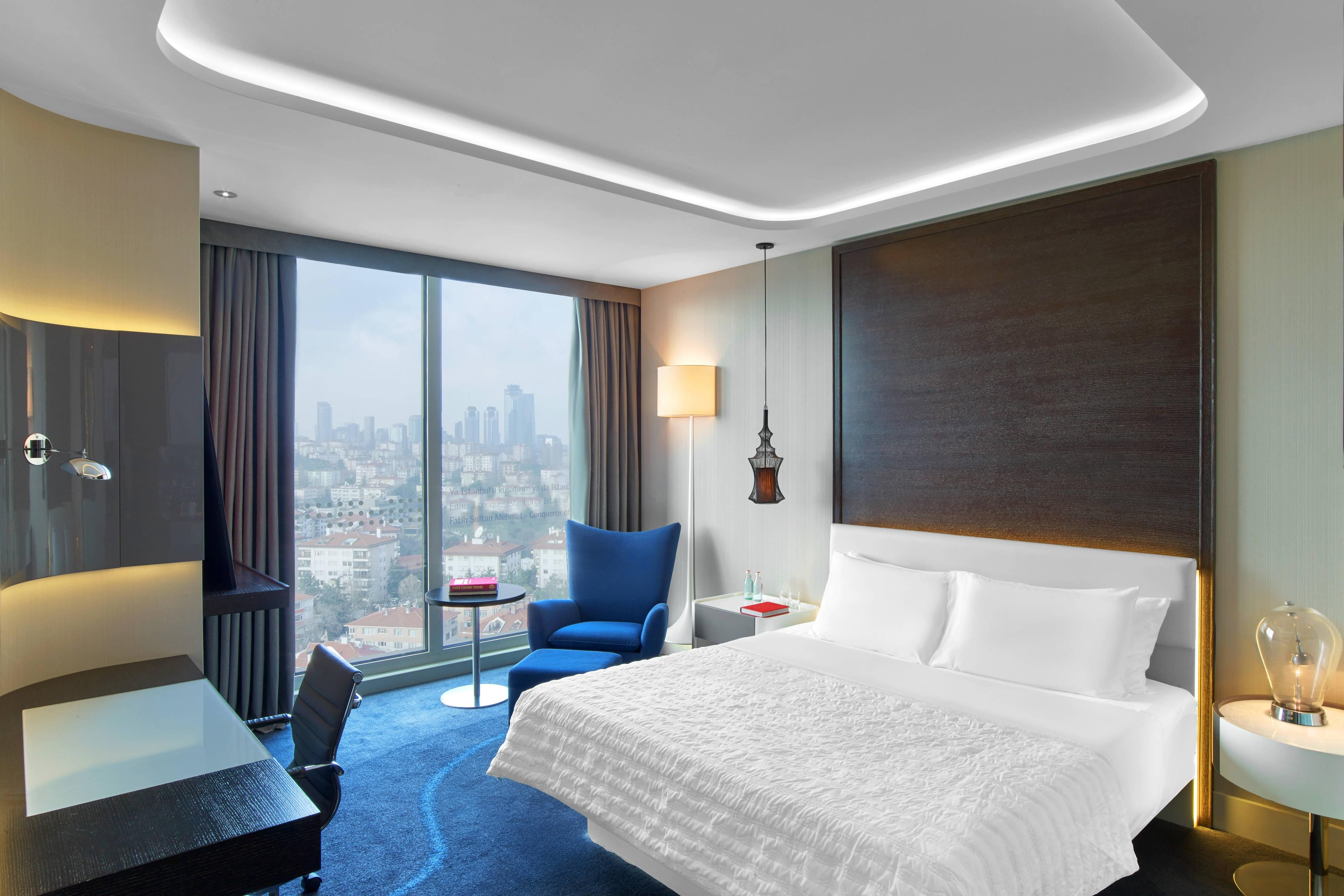 Deluxe room with city view and king size bed