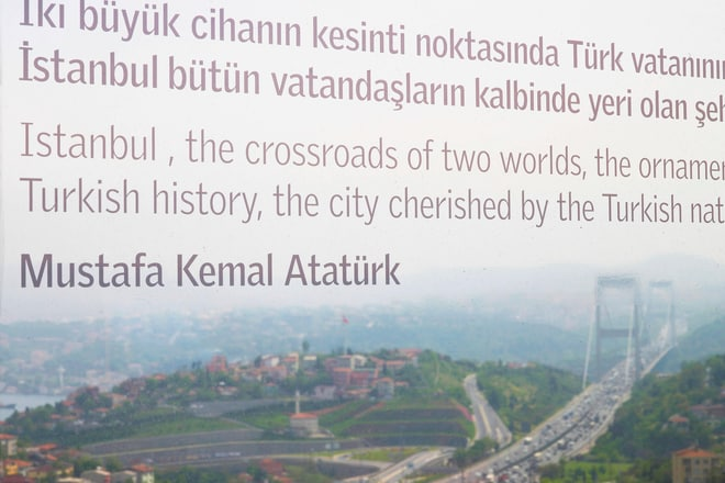 Poem about Istanbul on room window