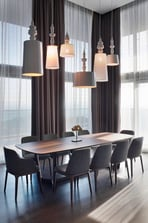 Presidential Suite seperate dining area with a stunning chandelier.