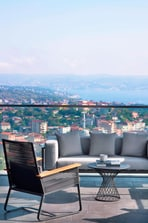 Bosphorus view from Presidential Suite and sitting area in the terrace