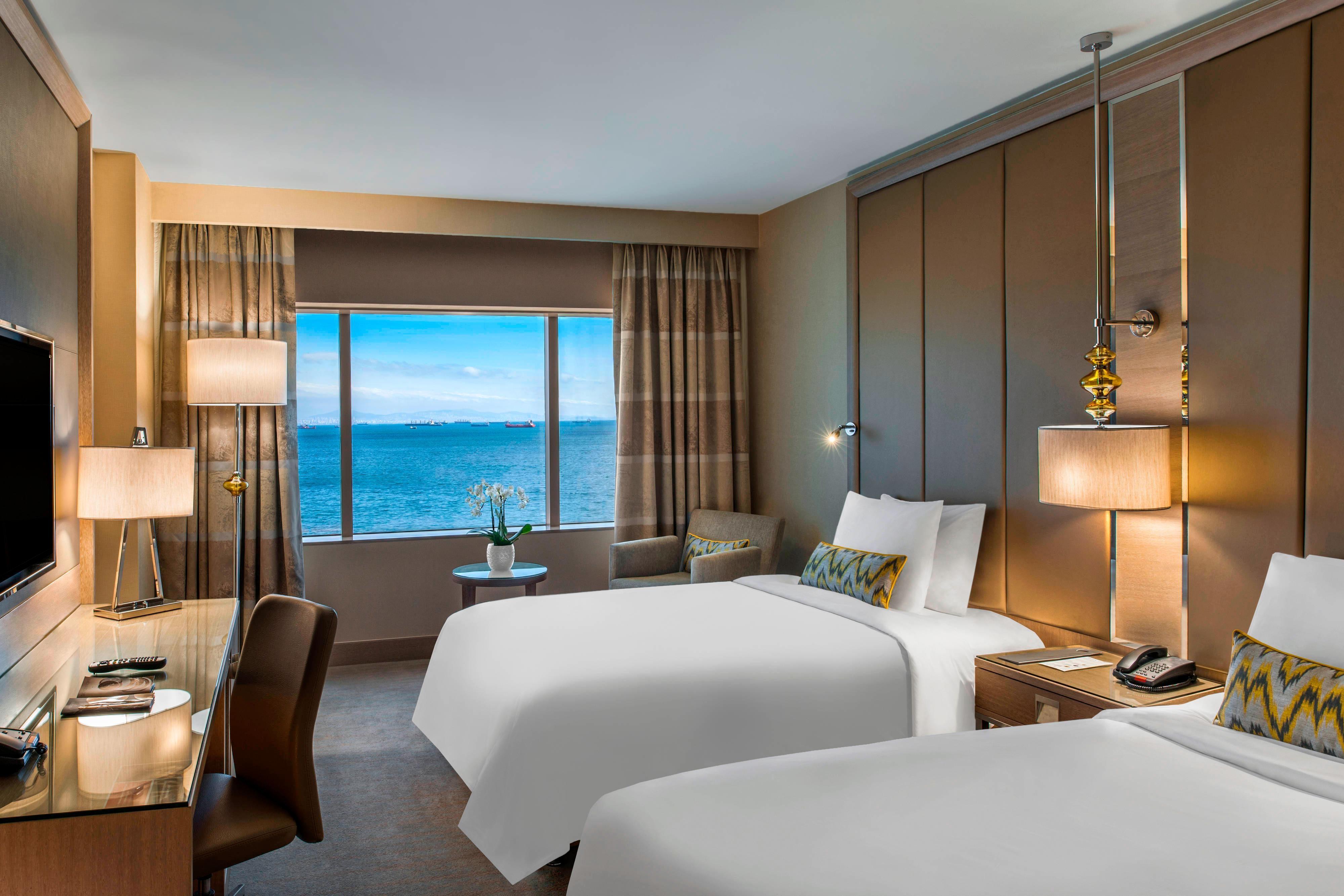 Chambre haut de gamme avec deux lits simples-vue sur la mer