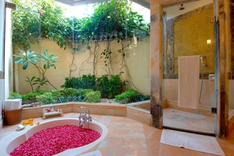 Private Villa Bathroom with Sunken Bathtub