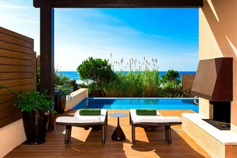 Private Terrace and Infinity Pool of the Ionian Exclusive Premium Grand Infinity Suite Beachfront