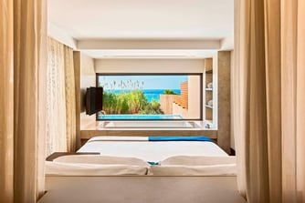 View from the bedroom of the Ionian Exclusive Premium Grand Infinity Suite Seafront