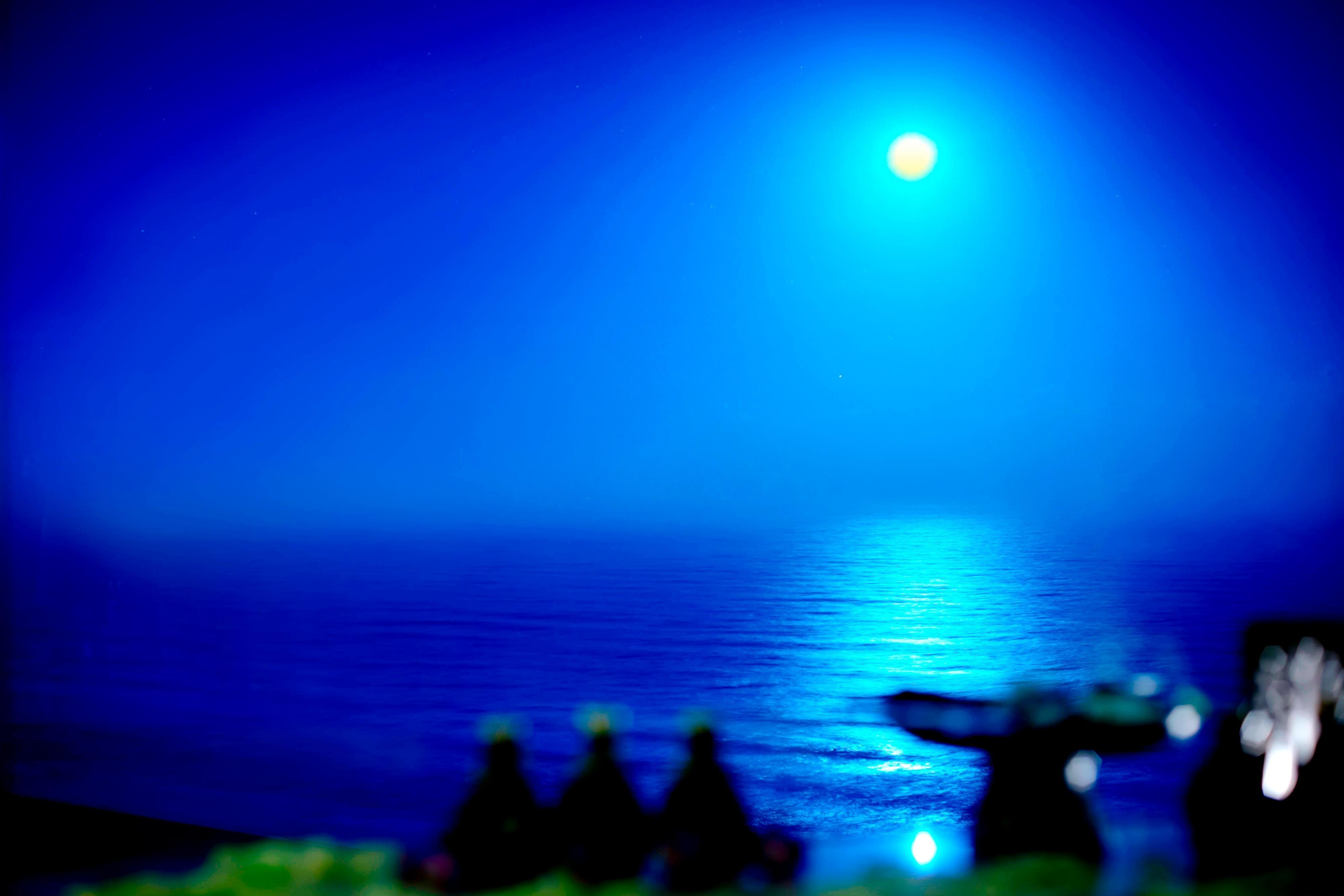 月明かりに照らされた水面