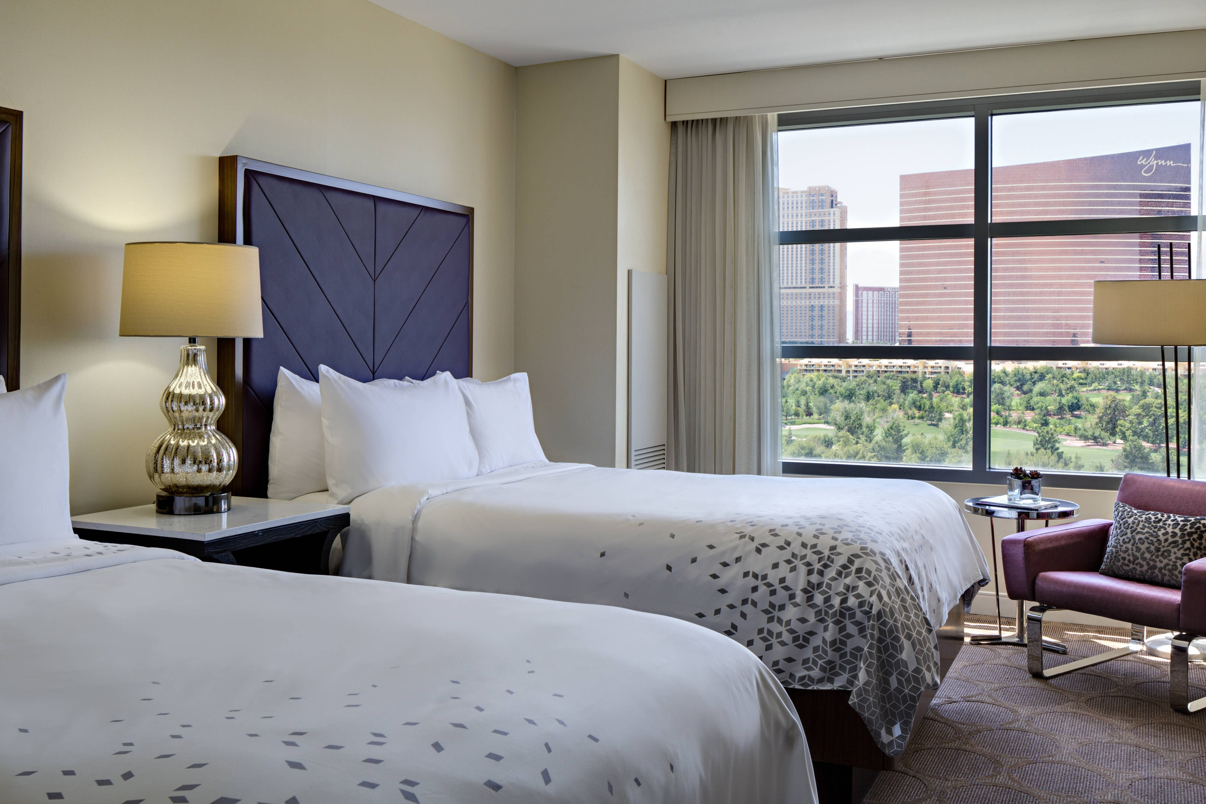 Chambre avec deux lits doubles, vue sur Las Vegas