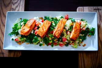 nFuse Bar and Kitchen - Kale Salad with Salmon