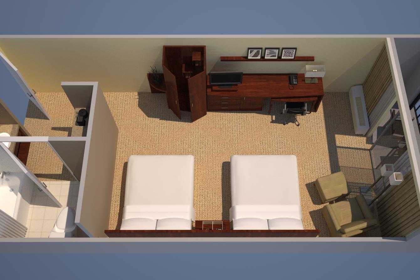 Habitación con 2 camas dobles