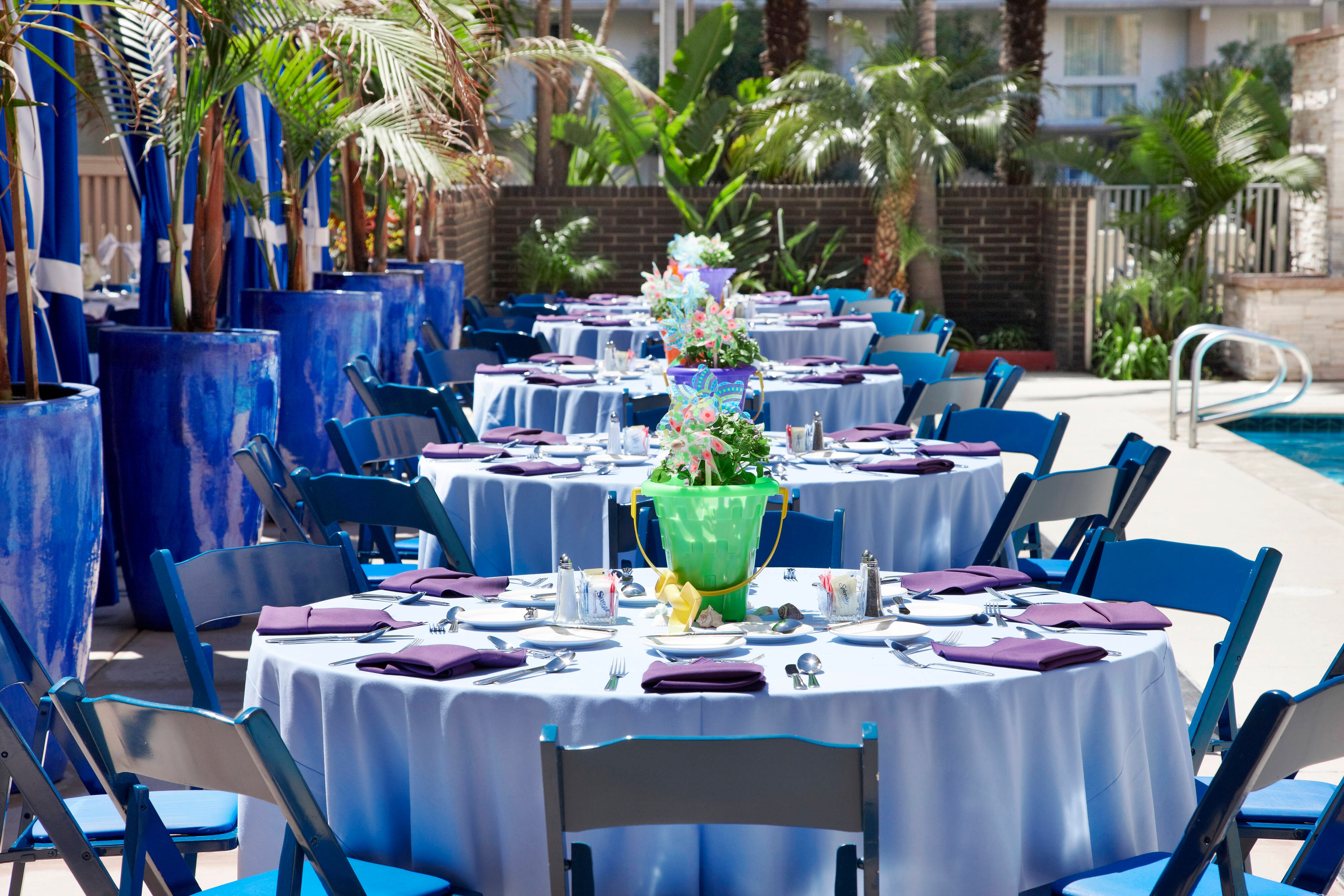 Table Setting with blue chairs