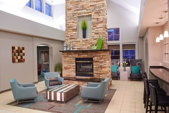 Saginaw Michigan hotel lobby fireplace