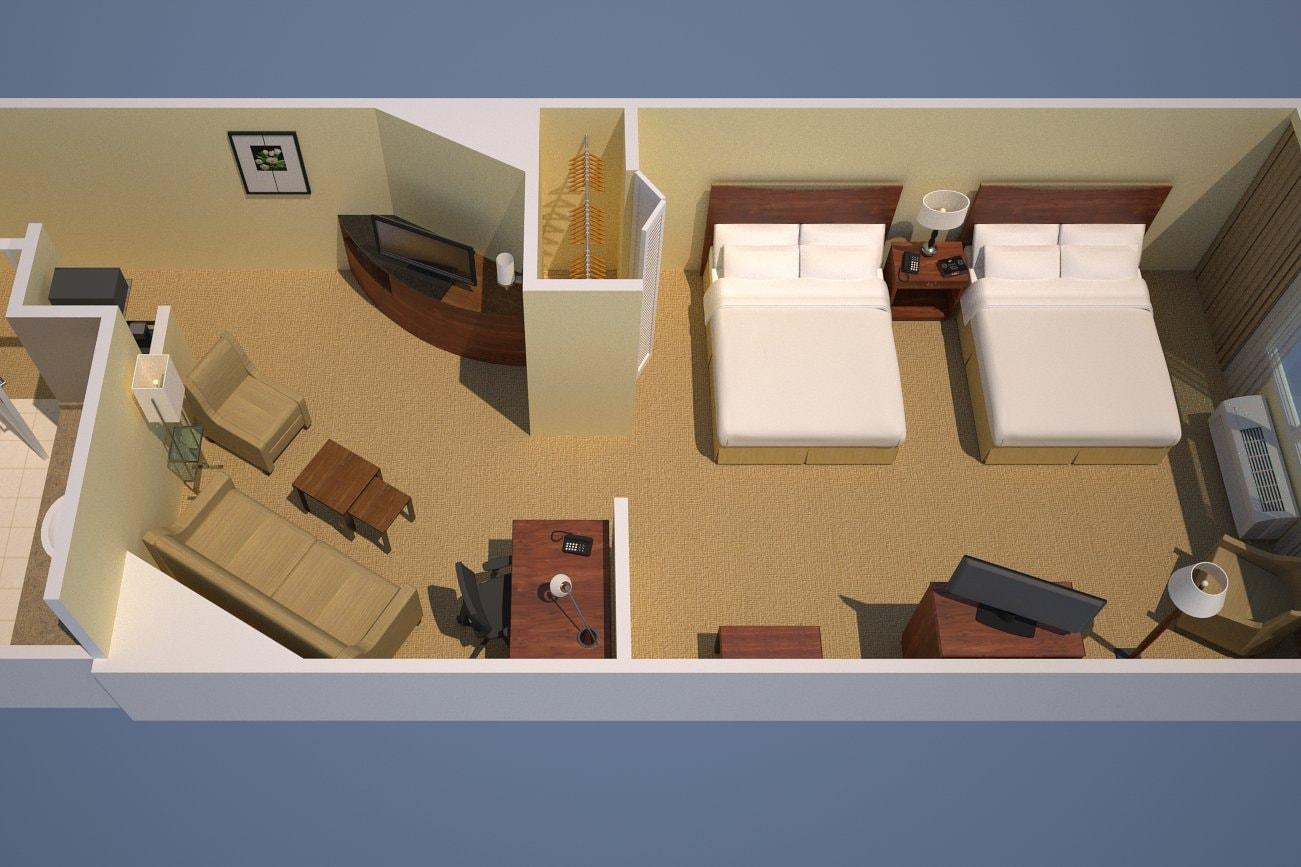 Studio avec deux grands lits
