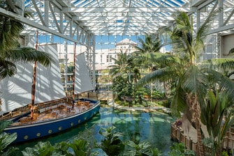 Gaylord Palms key west atrium with sailboat