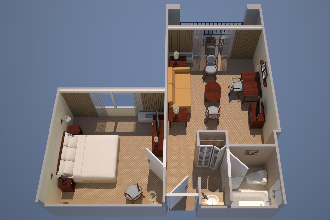 Suite, unlit king size et un canapé-lit
