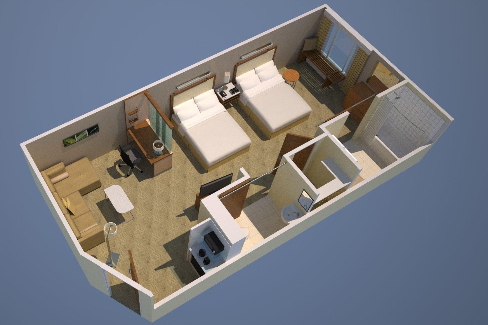Grundriss der Studio Suite mit zwei Queensize-Betten