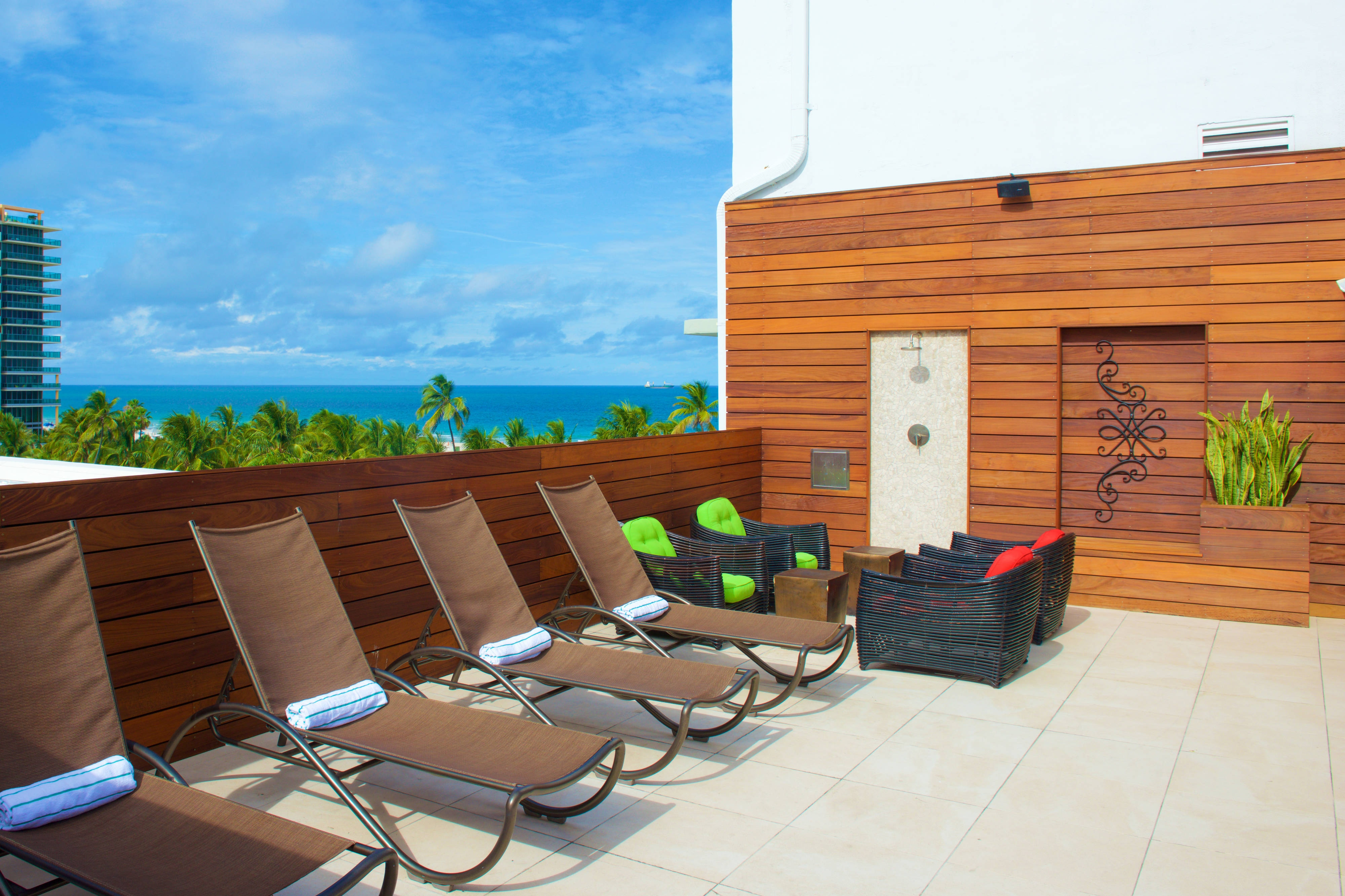 South Beach hotel rooftop sundeck
