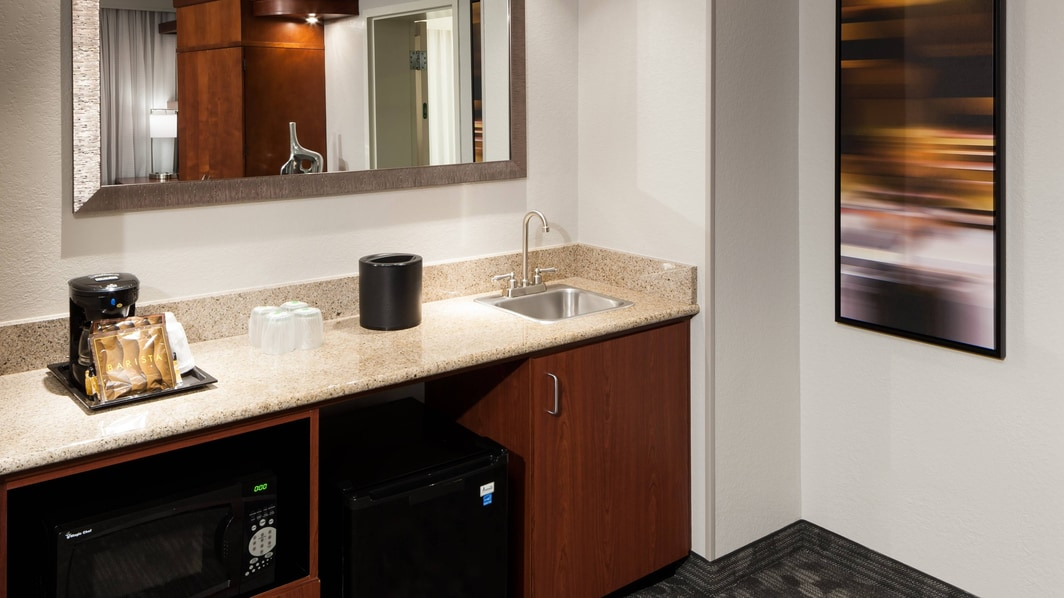 Wet bar, mini-refrigerator and microwave
