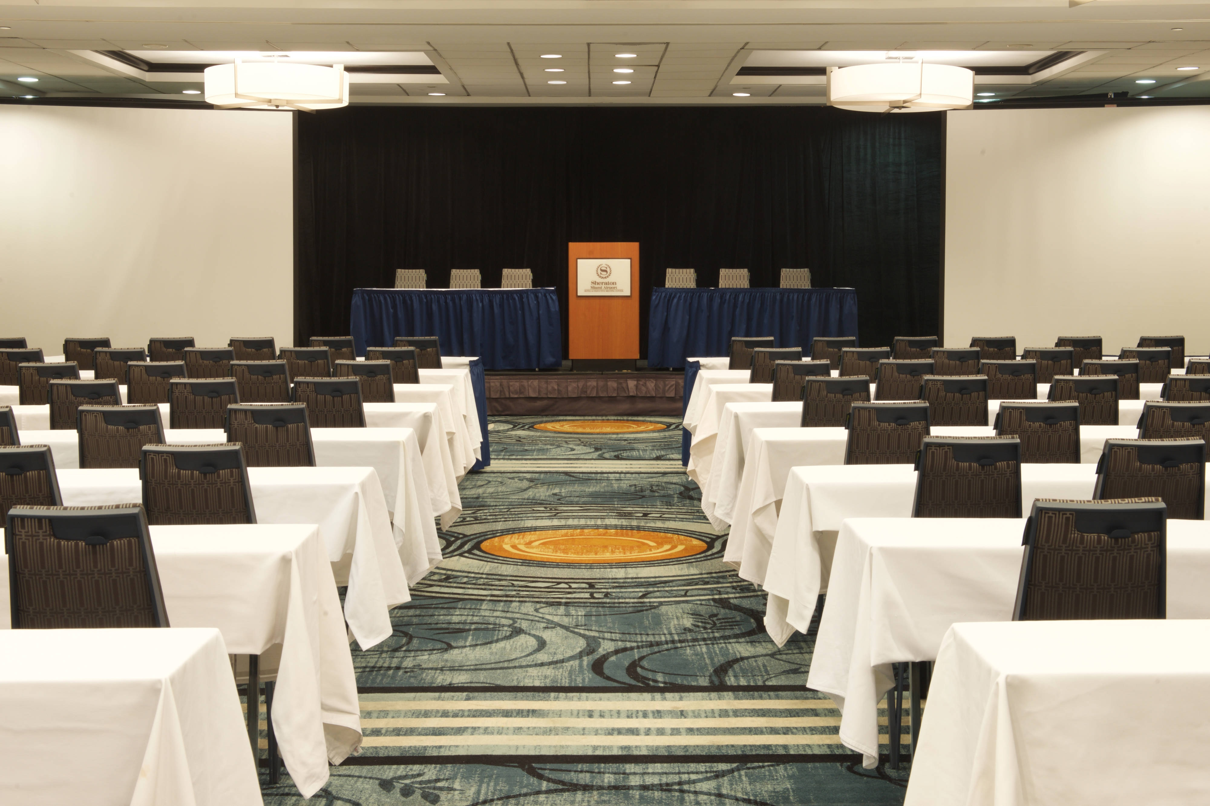 Ball Room Set up Classroom Style Facing Podium Close Up