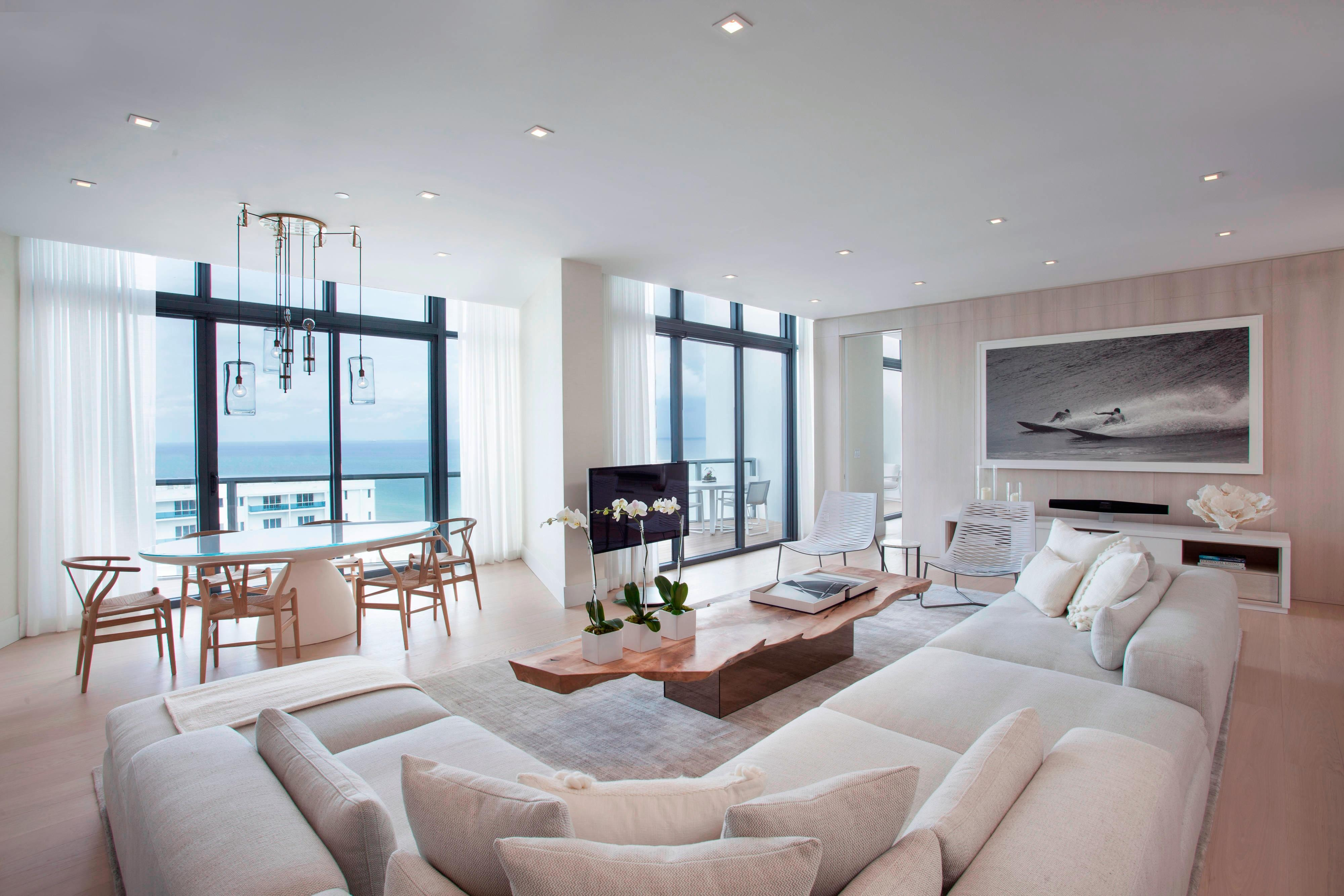 Renovated Penthouse Living Room and Dining Room