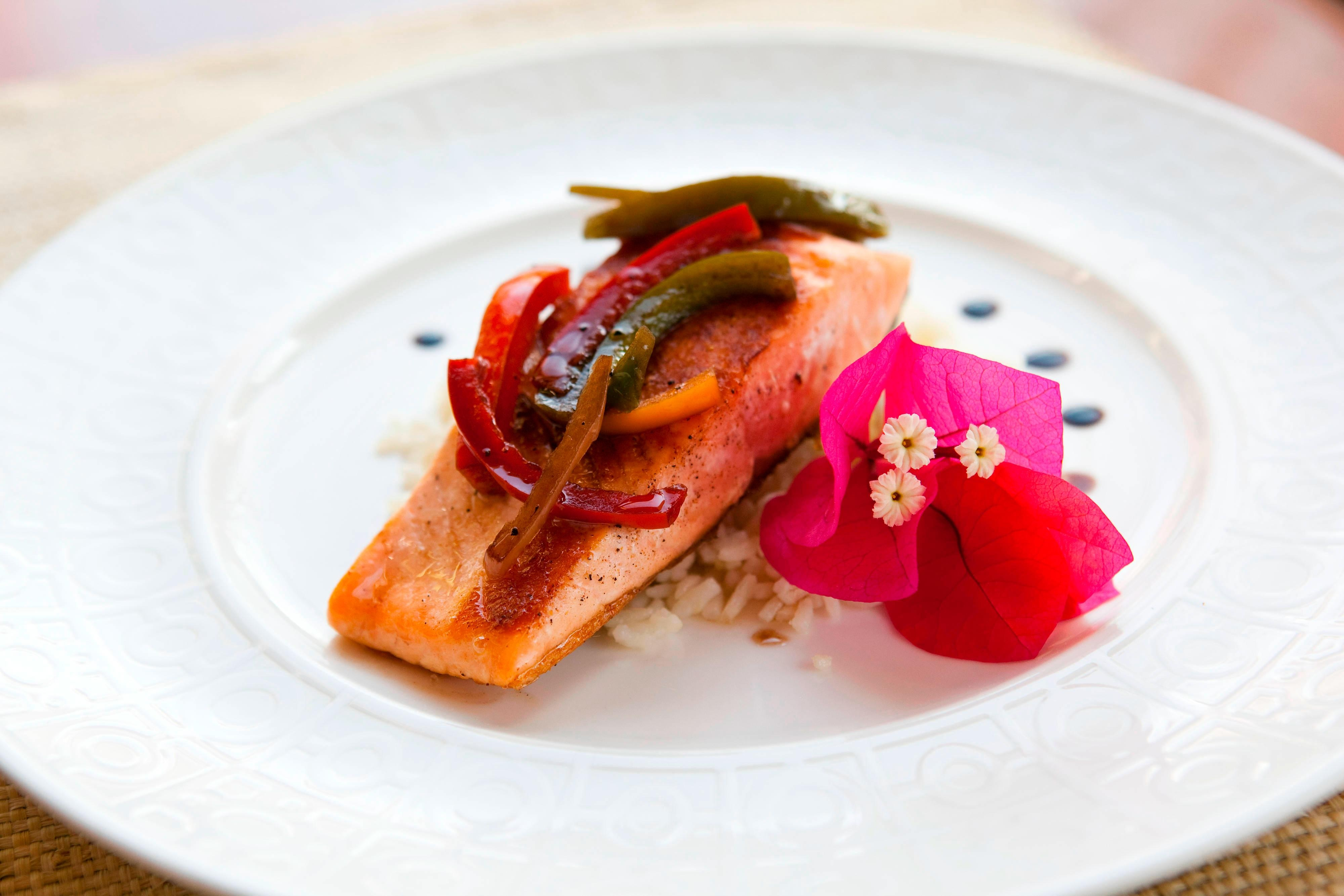 Salmon with Bell Pepper Relish and Fresh Coriander Rice