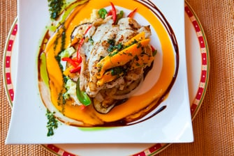 Fresh Grouper with Mango Sauce and Black Sesame and Couscous
