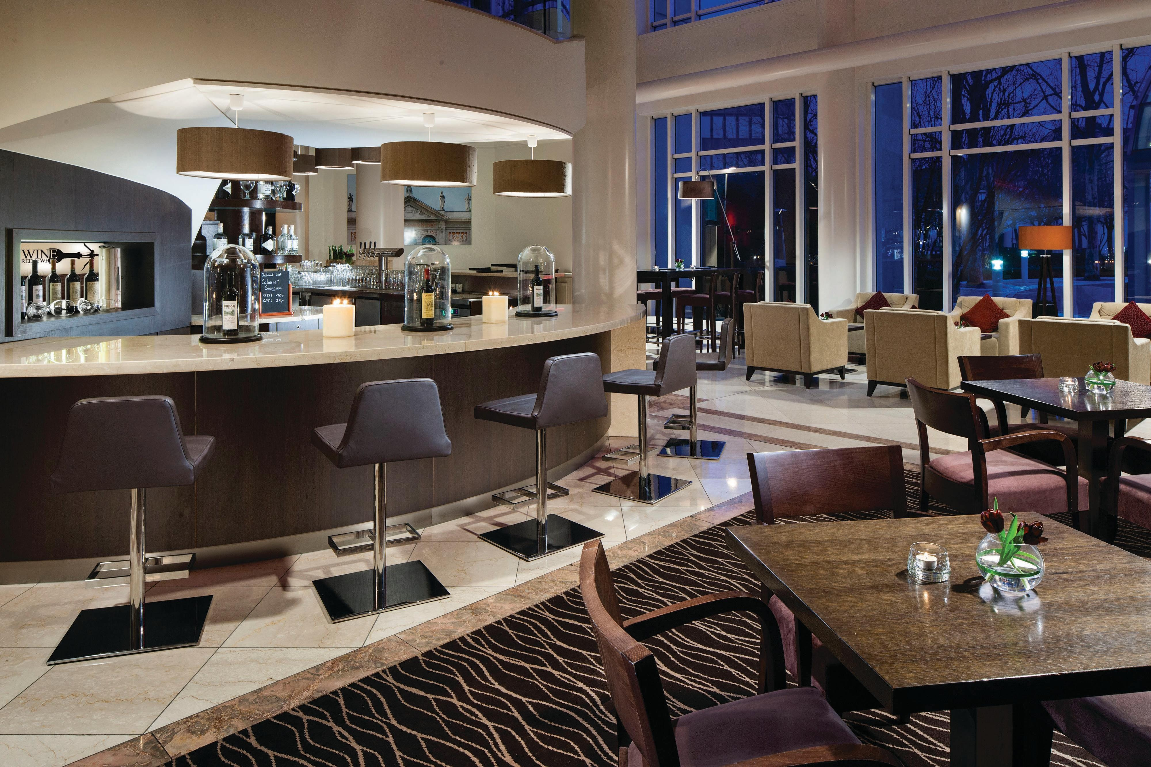 Lobby lounge and bar at the Munich Marriott Hotel