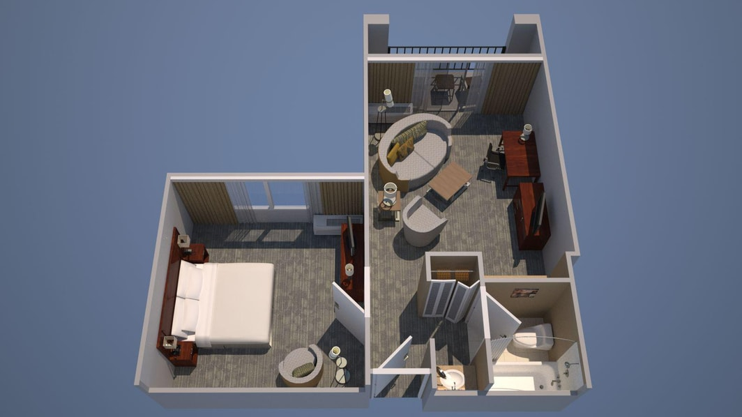 Suite mit einem Schlafzimmer – ein Kingsize-Bett, Bettsofa