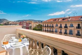 Balcon d'une chambre de notre hôtel de Nice