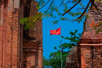 Po Nagar Tower with Vietnam Flag