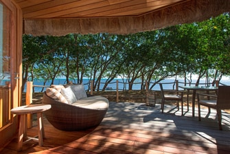 Beachfront Bungalow terrace and View