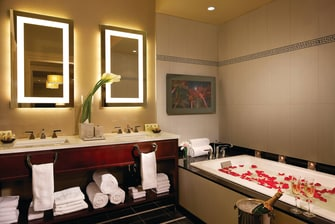 Times Square hotel suite bathroom
