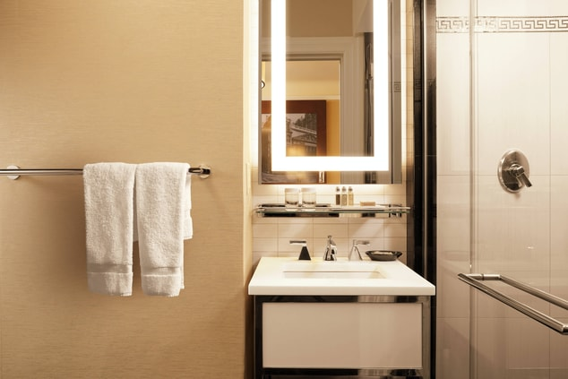 Times Square hotel guest bathroom