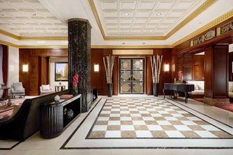 Lobby with art deco architecture