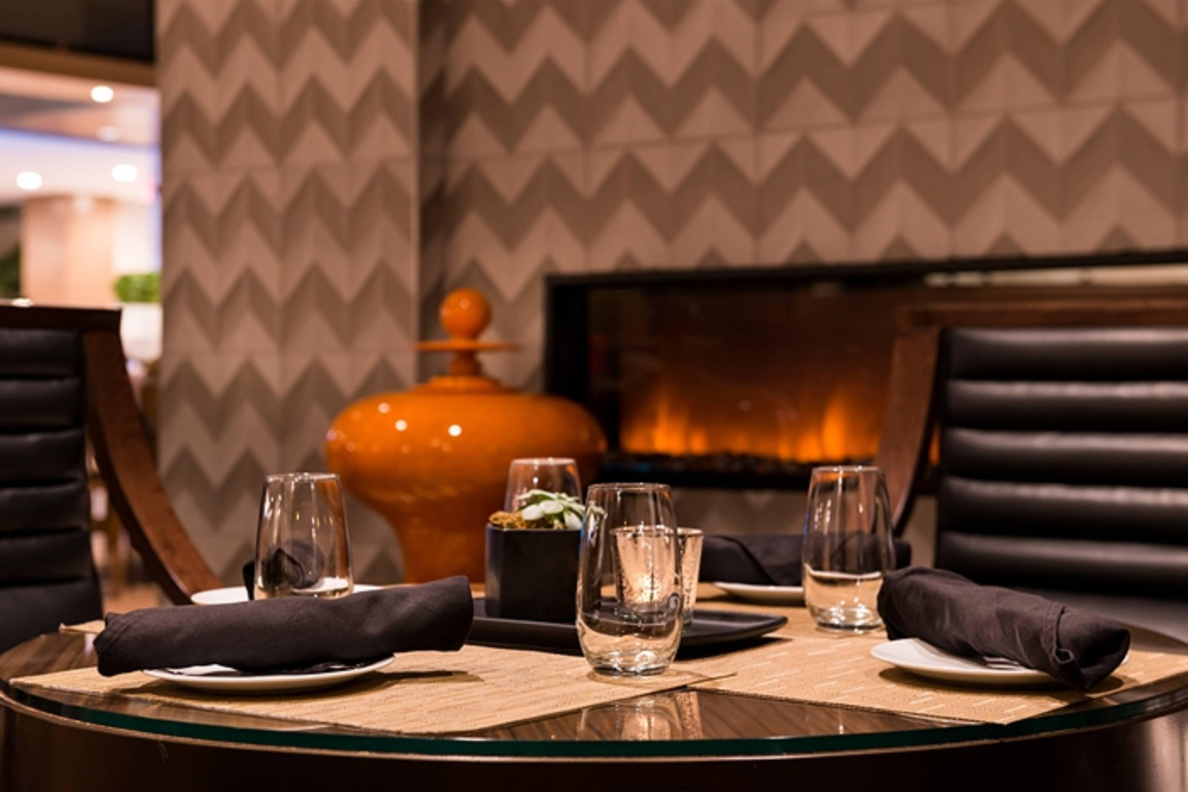 Melville hotel lounge fireplace