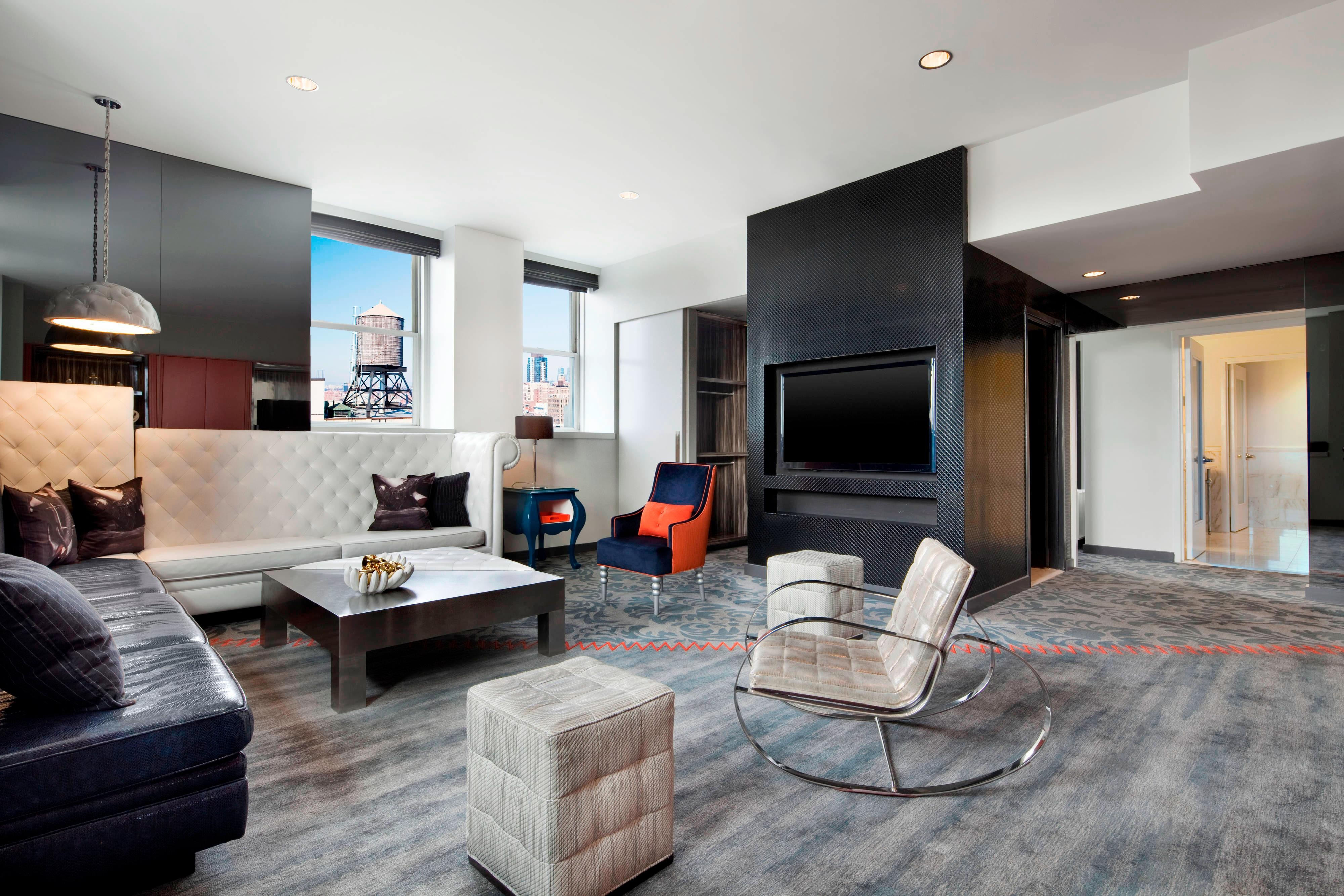 Hotel rooms amenities w new york union square - The living room at the w union square ...