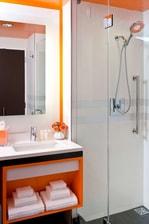 Contemporary bathroom and amenities