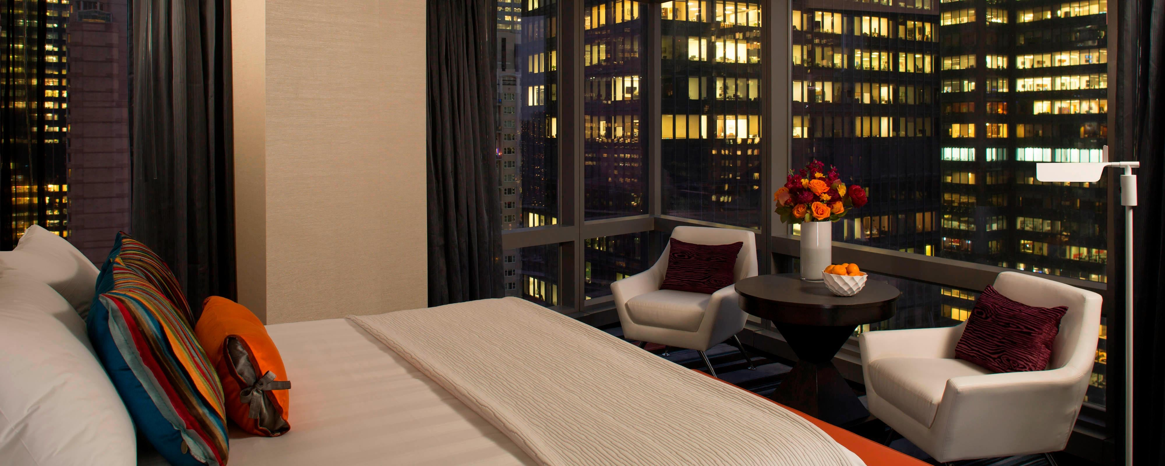 Camere dell'hotel con vista su Manhattan