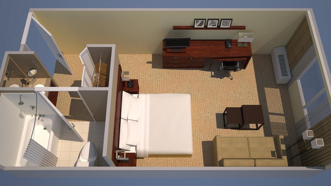 Plano de planta de la habitación con una cama King