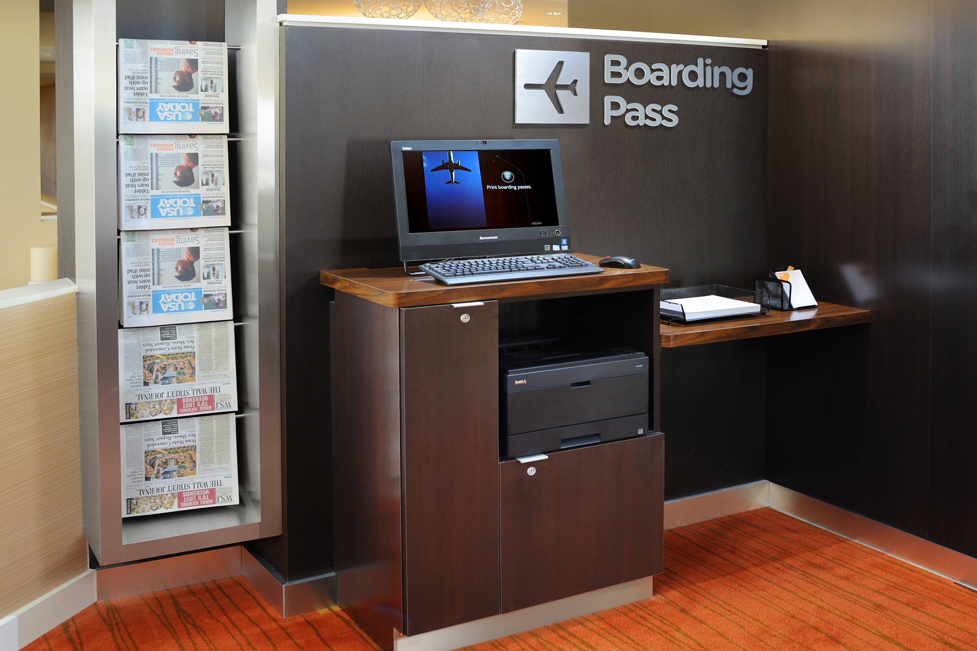 courtyard boarding pass print kiosk