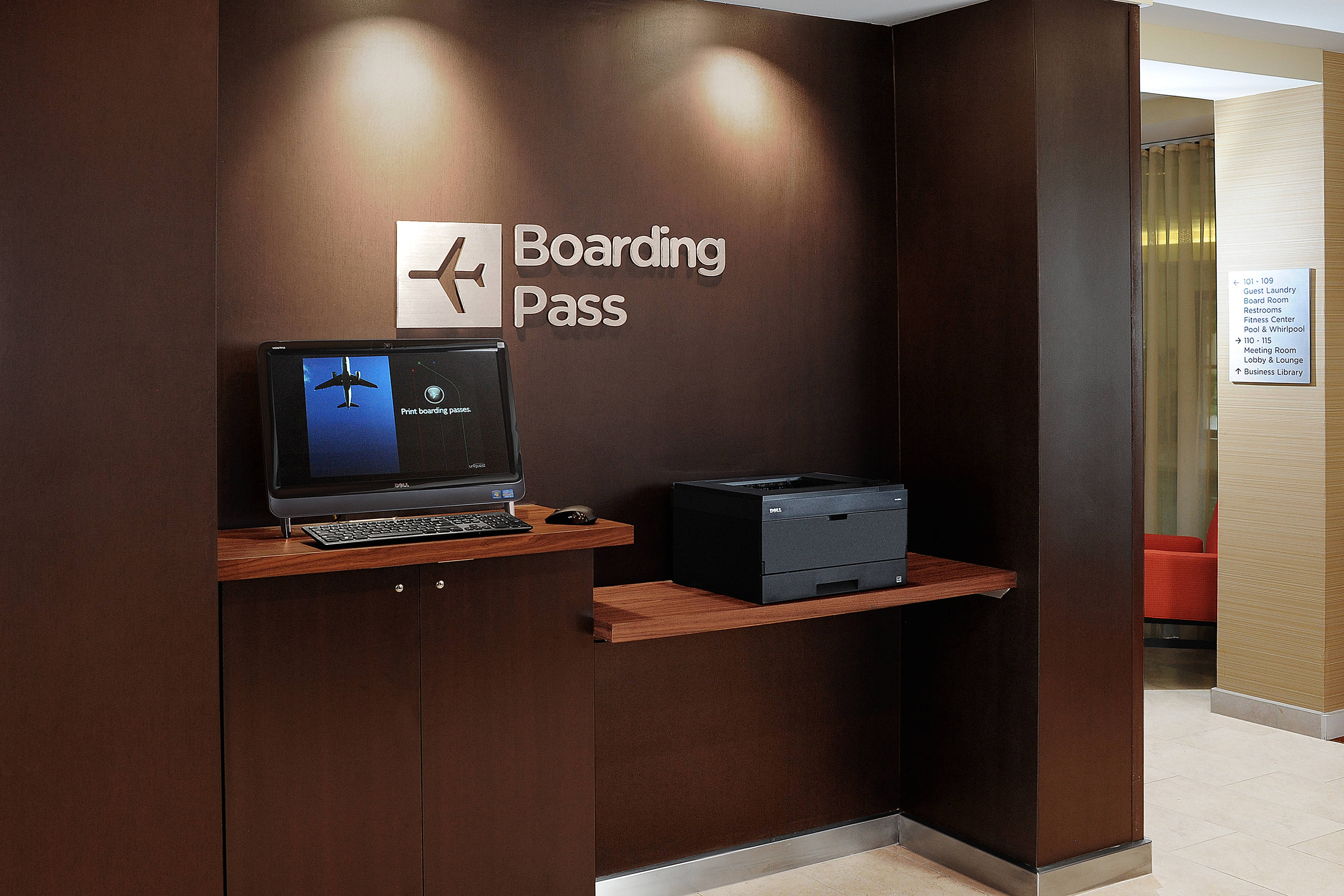 Our boarding pass station makes the trip home easier with complimentary printing for boarding passes.