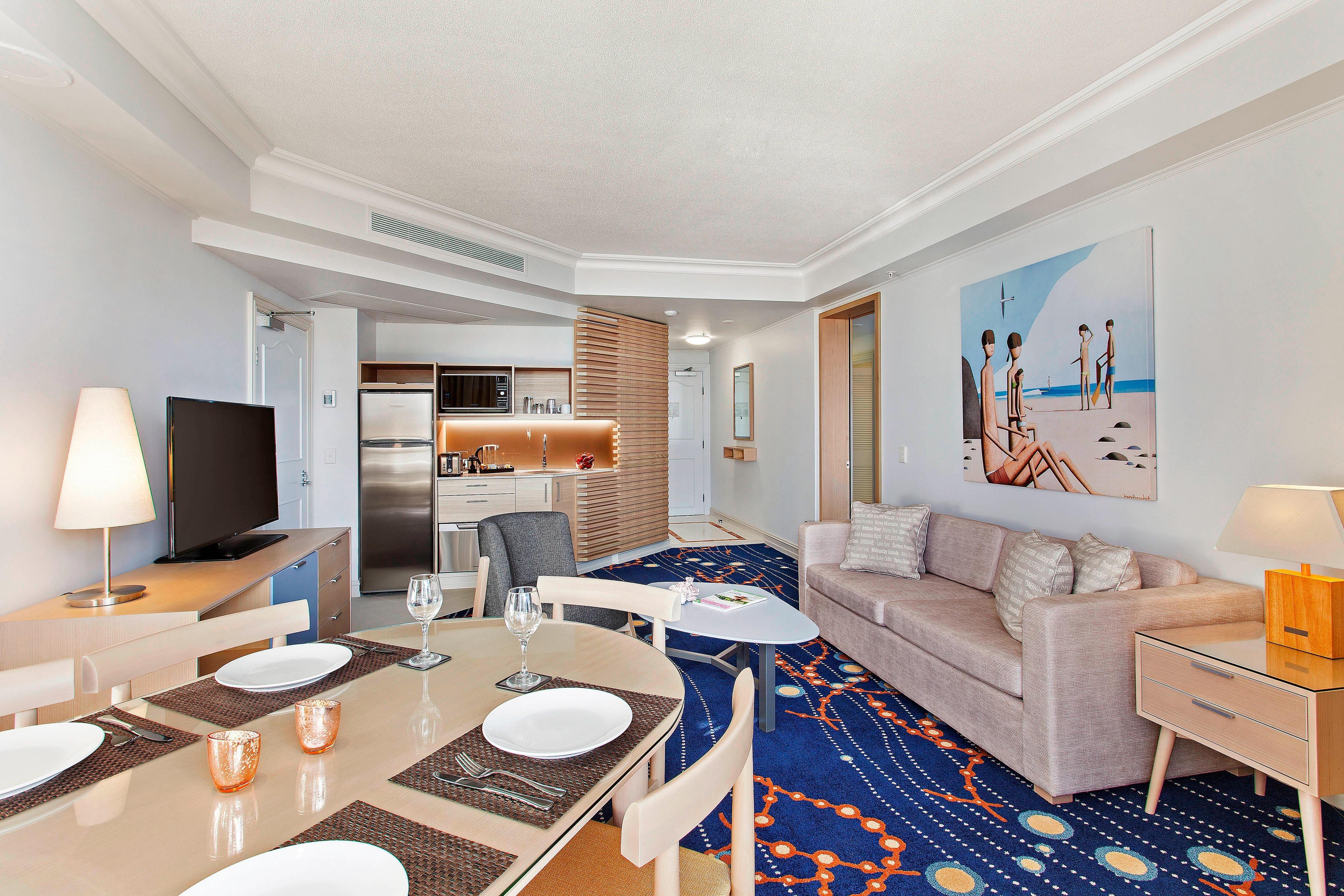 Suite avec vue sur le lagon–salon et espace salle à manger