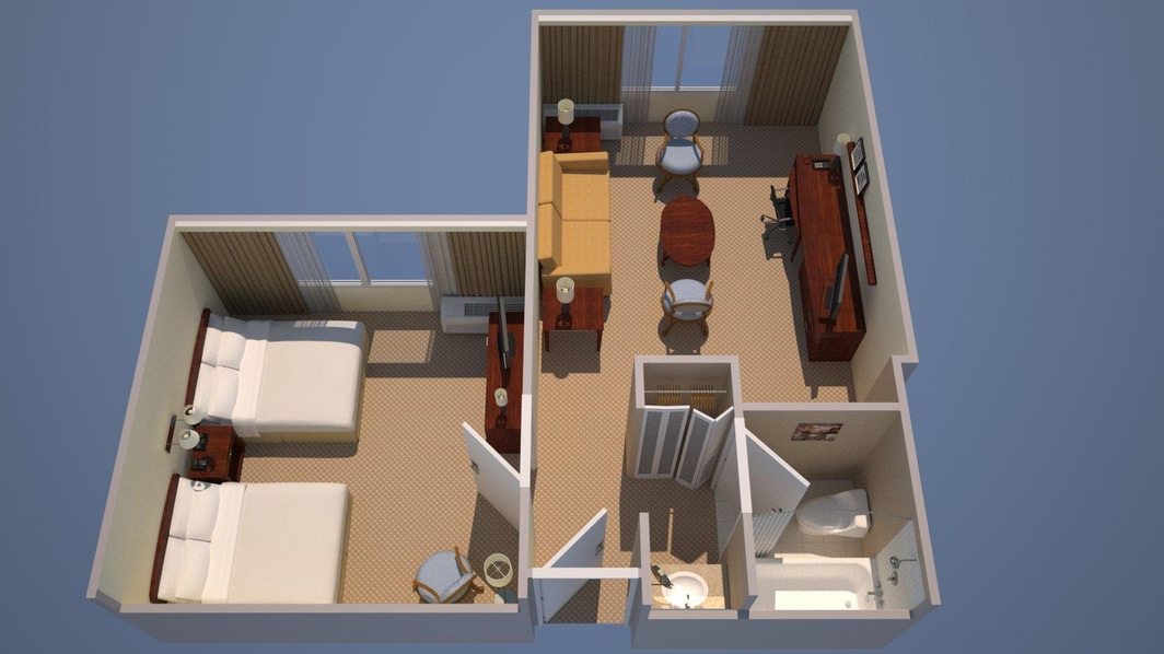 1 Bedroom Executive Suite - 2 Double, Sofa Bed