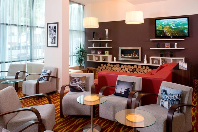 Hotel lounge bar and fireplace