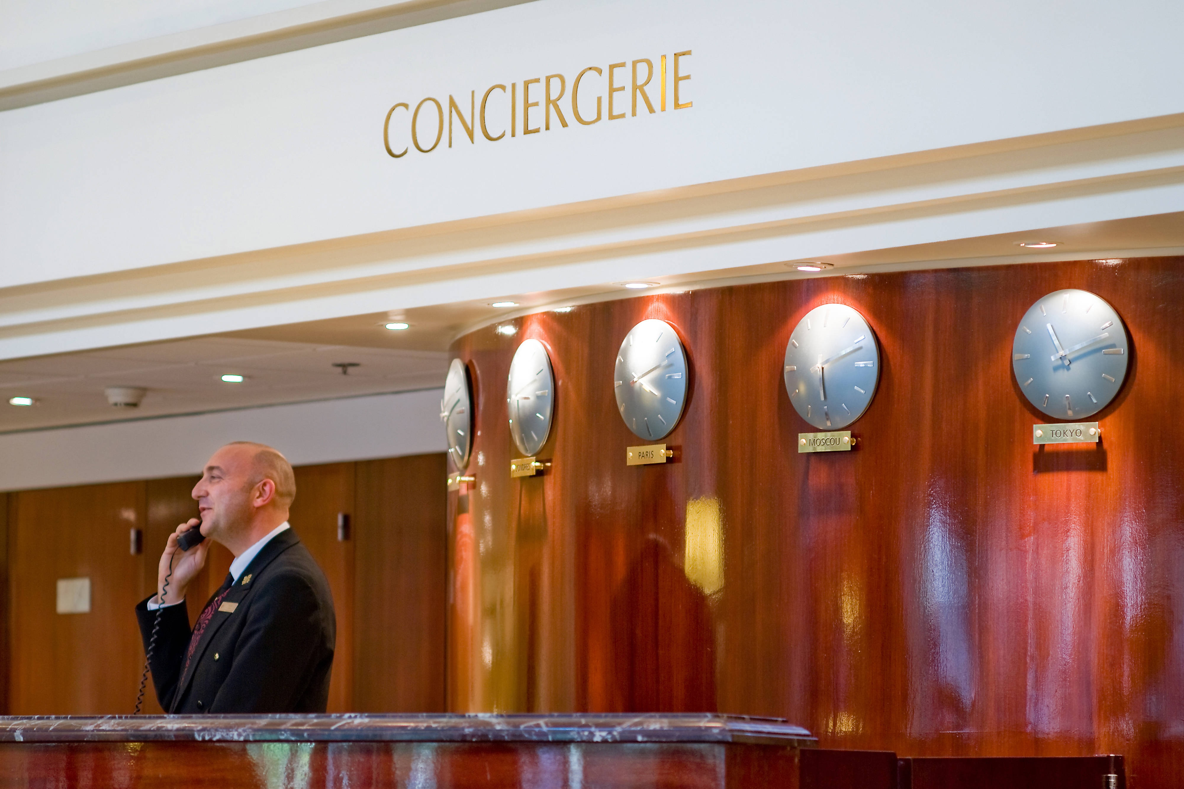 Hotel lobby and concierge desk