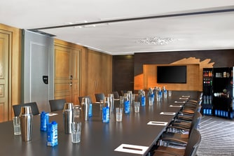 Boardroom with TV screen and Flycase