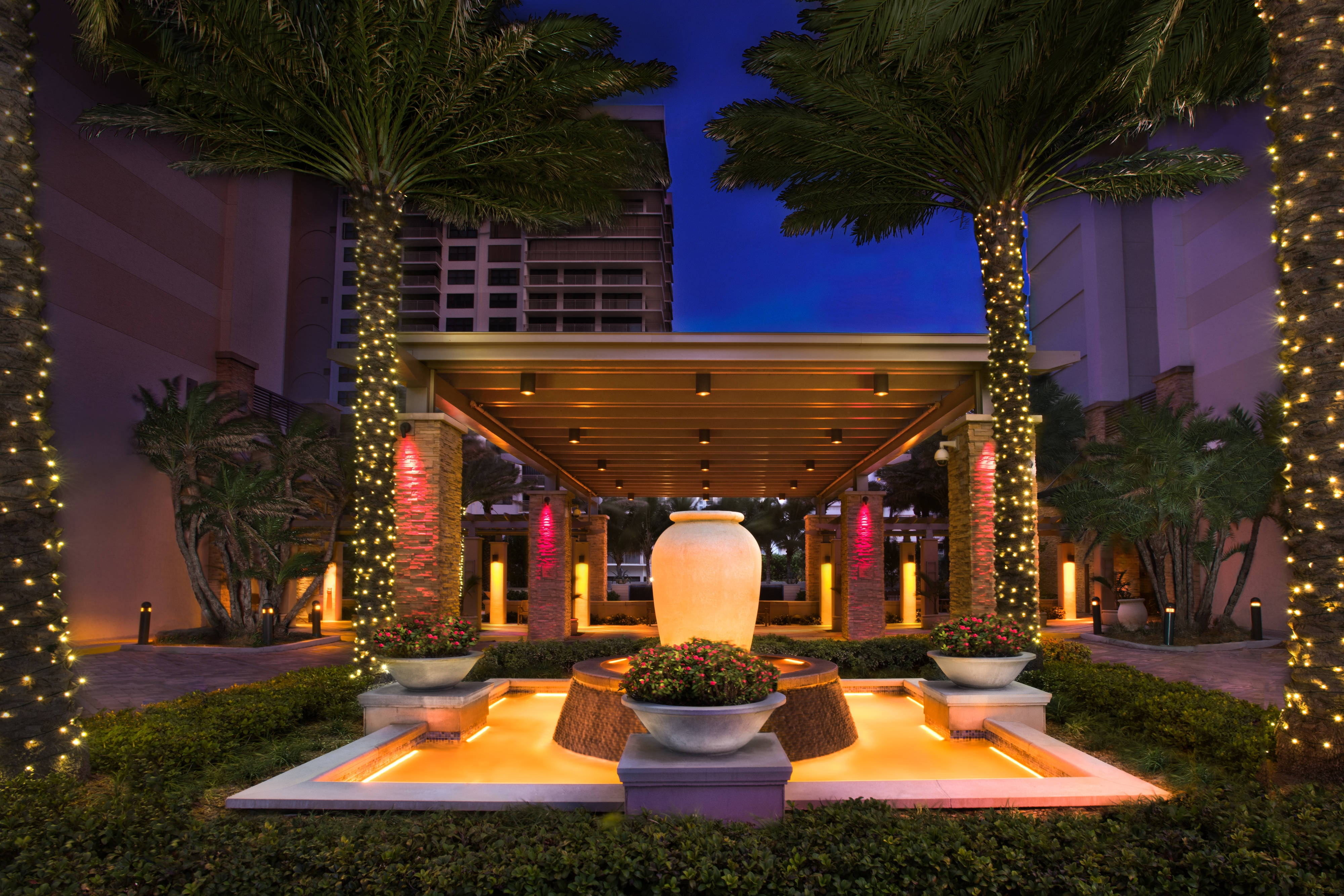 Entrance landscaping and lights
