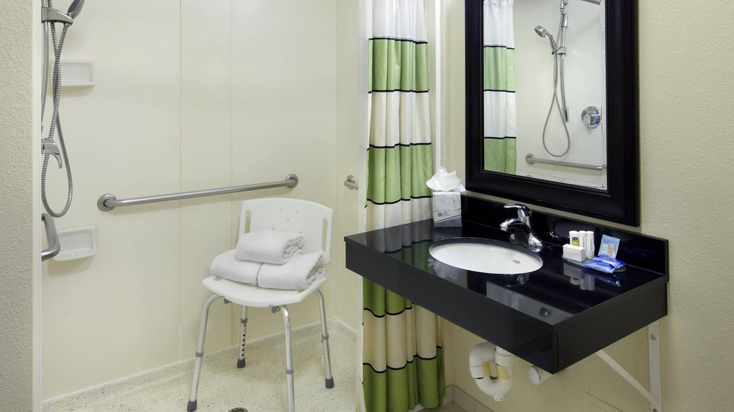 Accessible Guest Room Bathroom - Roll-in Shower